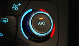 Close-up of a vehicle's AC interface