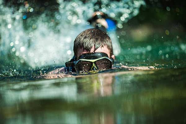 Man snorkeling in the San Marcos river