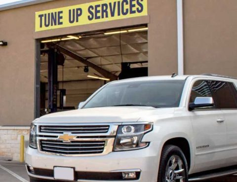 An SUV exiting our San Marcos auto service shop after receiving a tune up.