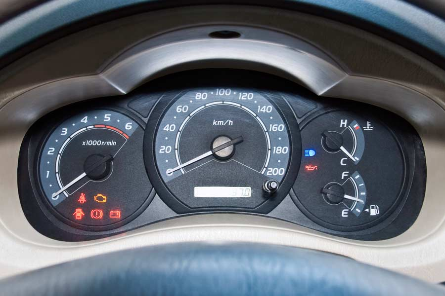 Example of a dashboard with all lights turned on