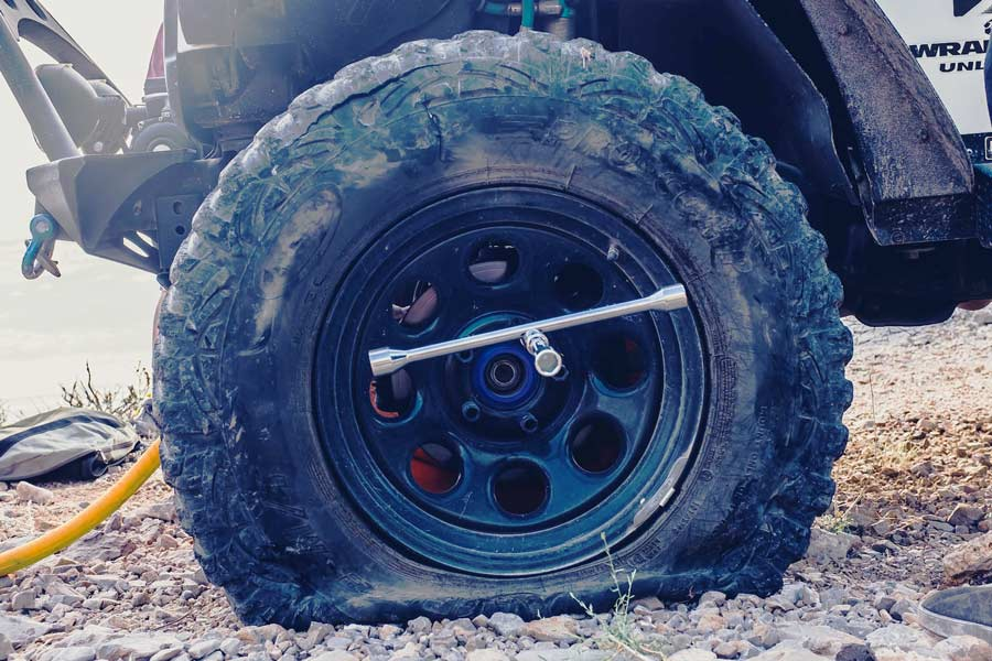Example of a flat tire from our car service shop in San Marcos TX