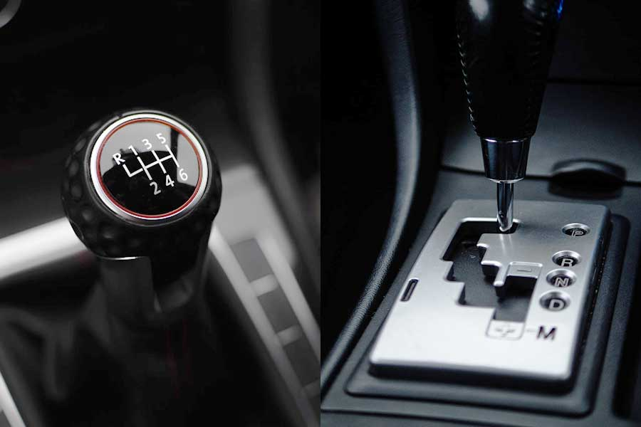 Manual transmission gearshift compared to an automatic